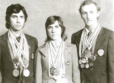 Олимпийские чемпионы Николай Бажуков, Раиса Сметанина, Василий Рочев