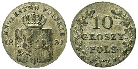 10 грошей Польского восстания 1831 года. Биллон, гурт гладкий. Стоимость на аукционе - $400, $1 705