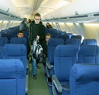 В салоне самолета Боинг 737-500